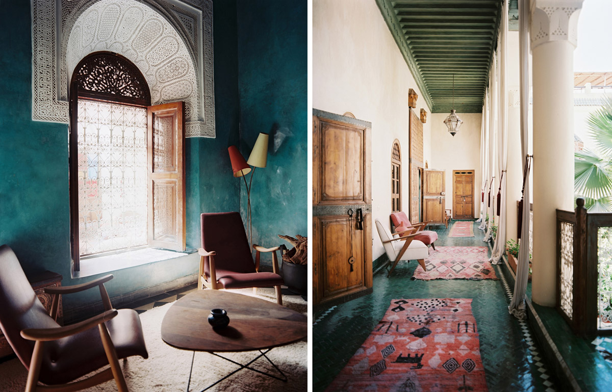 Teal tile and wall treatments in Morroco